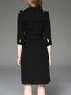 Elegant Polyester 3/4 Sleeve Lapel A-line Coat