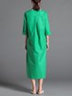 Green H-line Slit Abstract Casual Midi Dress