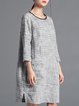 3/4 Sleeve H-line Pockets Elegant Midi Dress