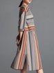 Stripes Elegant 3/4 Sleeve Midi Dress