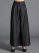 Black Cotton Elegant Wide Leg Pant