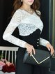 White Lace Long Sleeve Paneled V Neck Long Sleeved Top