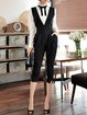 Black Sweet V Neck Knitted Jumpsuit