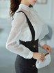 White Paneled Long Sleeve Turtleneck Shirt