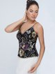 Black Sexy Floral Beaded Polyester Tanks