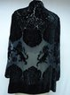 Black Long Sleeve Velvet Devore V Neck Blouse