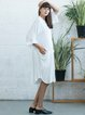 H-line Stand Collar Pockets Half Sleeve Casual Shirt Dress