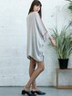 Beige Plain Cotton Casual Crew Neck Tunic