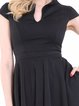 Black A-line Cotton-blend Short Sleeve Plain Midi Dress