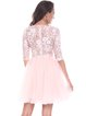 Pink Guipure Lace Long Sleeve A-line Mini Dress