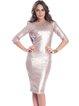 Golden Plain Sheath Glitter-finished Elegant Midi Dress