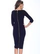 Dark Blue Zipper Half Sleeve Sheath Square Neck Midi Dress