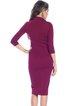 Fuchsia 3/4 Sleeve Zipper Sheath Polyester Midi Dress