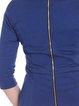 Elegant 3/4 Sleeve Plain Square Neck Zipper Midi Dress