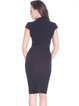 Black Sheath V Neck Polyester Short Sleeve Midi Dress