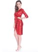Red Glitter-finished 3/4 Sleeve Wrap Dress