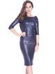 Navy Blue Polyester Glitter-finished Plain Elegant Midi Dress