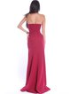 Burgundy Elegant Plain Strapless Slit Evening Dress
