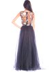 A-line Floral-embroidered Bateau/boat Neck Evening Dress