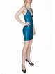Blue Rayon Spaghetti Bandage Dress