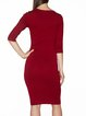 Burgundy Crew Neck Half Sleeve Sheath Midi Dress