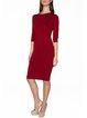 Burgundy Crew Neck Half Sleeve Sheath Midi Dress