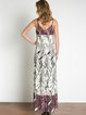 Cream Spaghetti Woven Tribal Slit Maxi Dress
