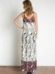 Cream Spaghetti Woven Tribal Slit Maxi Dress