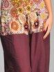 Brown Printed Casual Wide Leg Pants