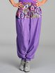 Violet Cotton Printed H-line Casual Wide Leg Pants
