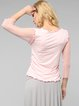 Pink Mesh Casual H-line Long Sleeved Top