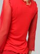 Red Casual Paneled Long Sleeved Top