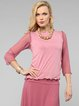 Deep Pink Casual Plain Long Sleeved Top