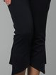 Dark Blue Casual Polyester Solid Flared Pants