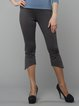 Gray Polyester Casual Flared Pants