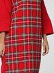 Red Long Sleeve Checkered/Plaid Printed Mini Dress