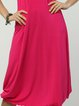 Fuchsia Paneled Casual Crew Neck A-line Midi Dress