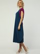 Dark Blue Color-block Crew Neck Short Sleeve Midi Dress