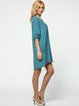 Aqua Solid Crew Neck Casual Ribbed Midi Dress