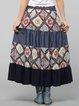 Dark Blue Tiered A-line Resort Cotton Maxi Skirt