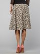 Beige Printed Elegant Abstract Midi Skirt