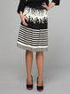 Black Stripes Casual Polyester A-line Midi Skirt