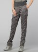 Gray Casual Checkered/Plaid H-line Viscose Straight Leg Pants