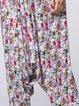 White Casual Floral Cotton H-line Wide Leg Pants