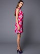 Fuchsia Polyester Abstract Sweet Mini Dress