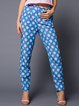 Blue Abstract Casual Straight Leg Pant