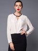 White Long Sleeve Folds Blouse