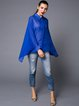 Royal Blue Simple Shirt Collar Short Sleeved Top