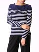 Navy Blue Bateau/boat Neck Casual Long Sleeved Top