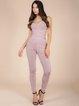 Pink Sleeveless Plain Sheath Bandage Jumpsuit
